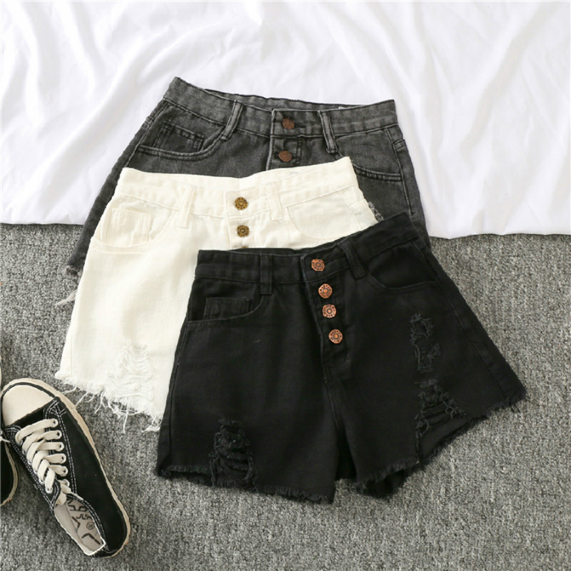 White Jean Shorts Women Summer New Women's Denim Shorts Casual Black Short Jeans Mujer 2020 Plus Size Shorts Feminino Gray