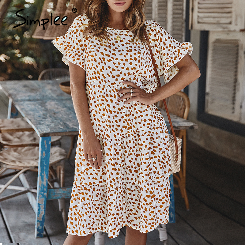 Simplee Sexy Polka Dot Women Dress Causal O-neck Loose Leopard Print Summer Dress Casual Short Sleeve Ruffle Holiday Beach Dress
