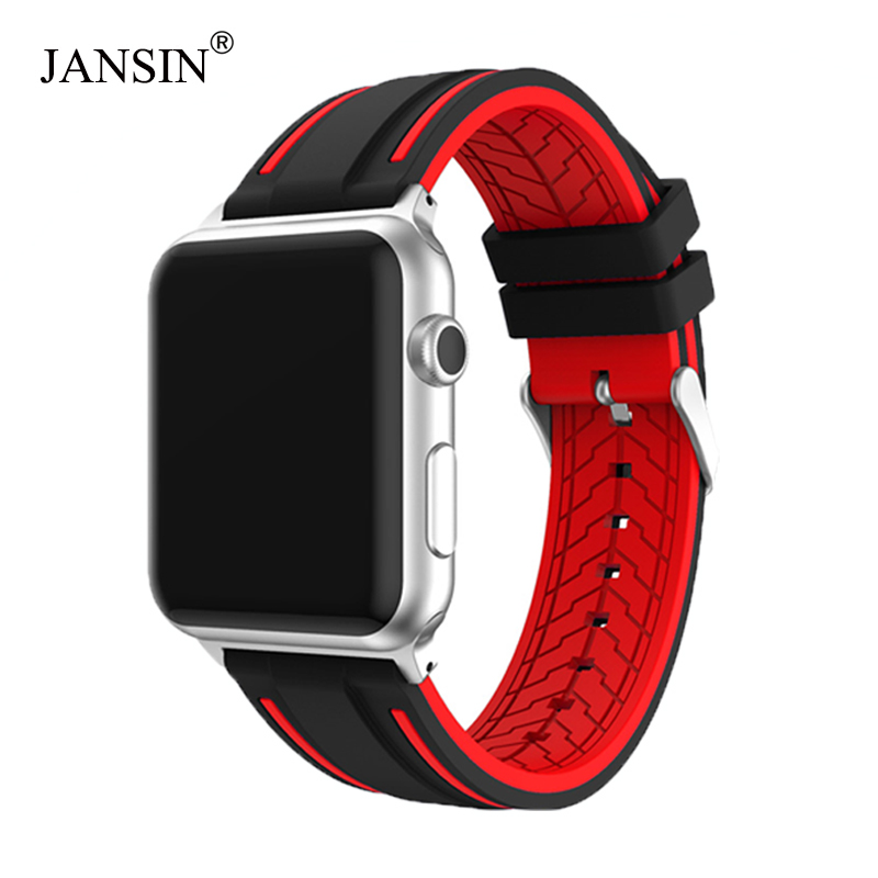JANSIN Sport Band For Apple Watch Series 5 4 3 2 Bracelet IWatch 5 Band 40mm 44mm Soft Silicone Strap For Apple Watch 38mm 42mm