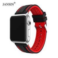 JANSIN fascia di Sport per apple watch serie 5 4 3 2 braccialetto iWatch fascia 5 40 millimetri 44 millimetri Molle Del Silicone cinghia per apple watch 38mm 42 millimetri