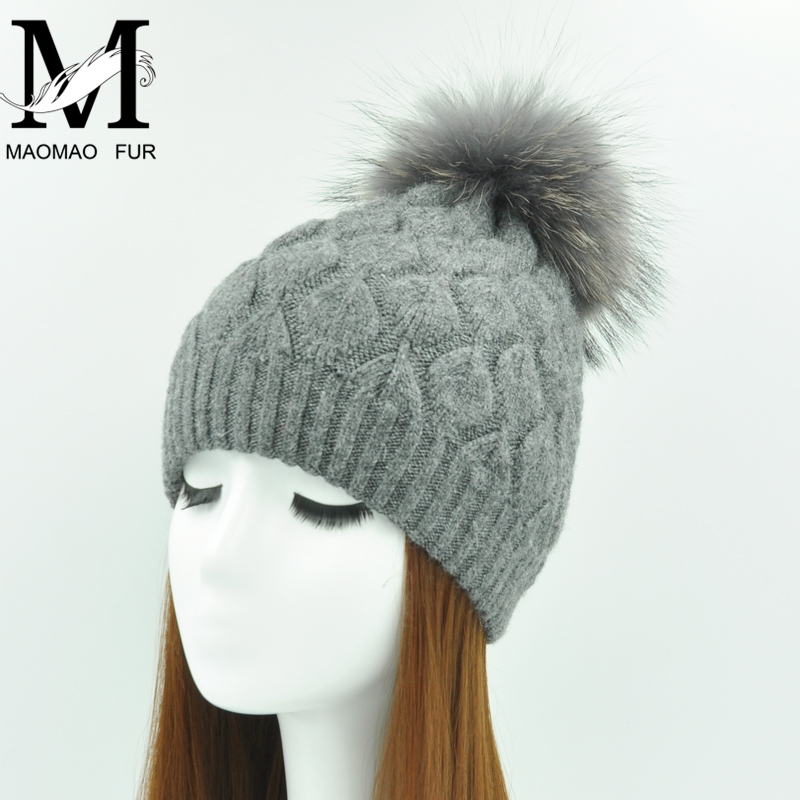 Women Winter Hat Angora Knitted Wool Beanie Female New Fashion Casual Outdoor Thick Ladies Warm Fur Ball Hats