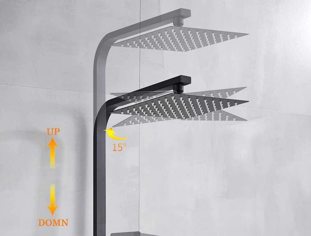 H2462a6e093be49f187e615d42221bc9ds POIQIHY Black Bathroom Shower Faucet Set Wall Mount Black 8''Rainfall Shower Head With Handheld Sprayer Bathtub Shower Mixer