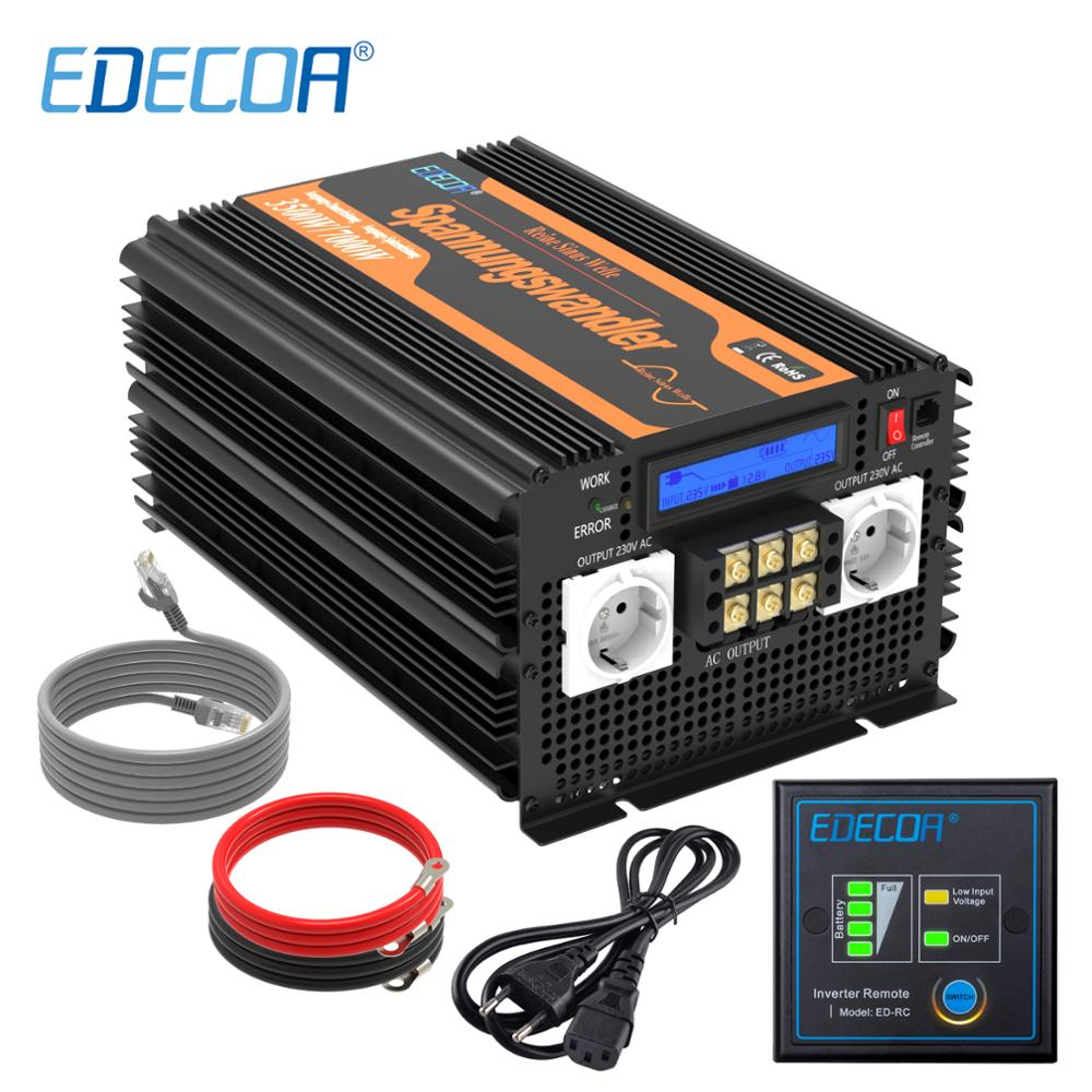 EDECOA UPS charger <font><b>power</b></font> <font><b>inverter</b></font> 3500W <font><b>7000W</b></font> DC <font><b>12V</b></font> AC 220V 230V 240V <font><b>pure</b></font> <font><b>sine</b></font> <font><b>wave</b></font> with remote controller and LCD display image