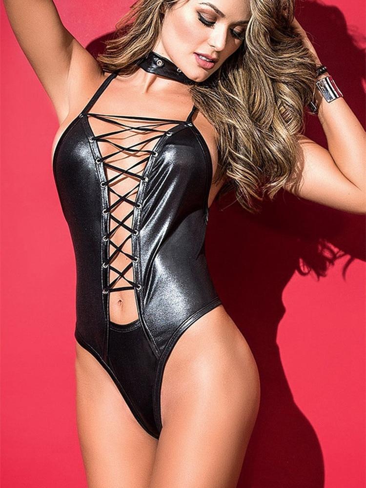 Sexy Lace up Gothic Faux Leather bodysuit Women PVC Lingerie Clubwear latex catsuit erotic Pole Dance body lingerie Fetish Wear