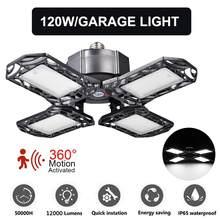 Ultrafinos led garagem luz sensor de movimento lâmpada de teto 80/120w e27 armazém oficina dobrável industrial ligtht 85-265v