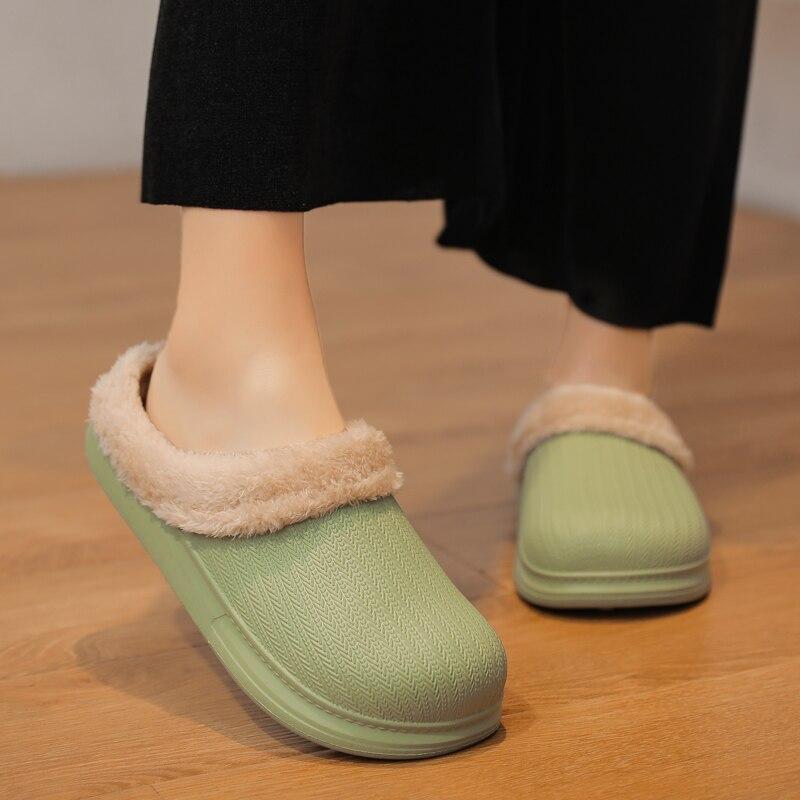 peludos à prova dwaterproof água casa quarto flat loafers sapatos de casal