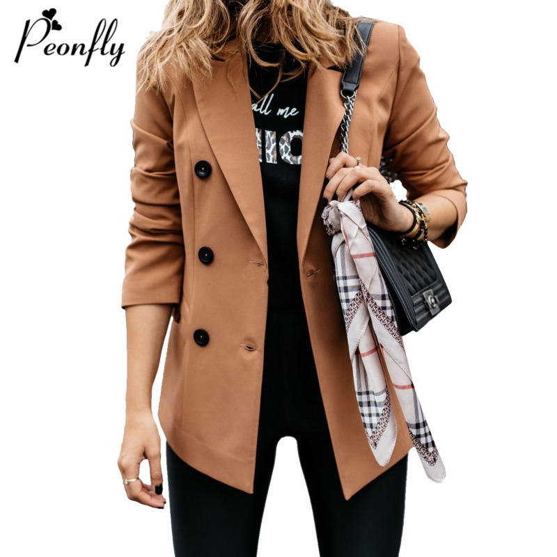 PEONFLY Women Double Breasted Elegant Blazer Casual Loose Long Sleeve Jacket Solid Female Office Lady Blazer Outwear Coat