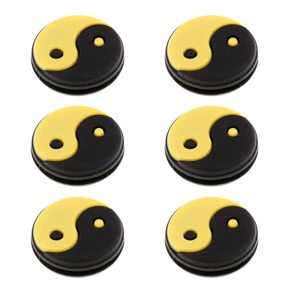 6 Pieces Silicone Yin Yang Tennis Racquet Vibration Dampener Shock Absorber