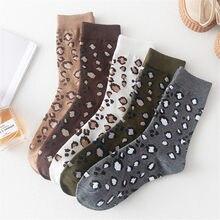 Moda leopardo impressão algodão tripulação meias meninas feminino casual meados de tubo meias macio confortável hip hop rua skate tornozelo meias