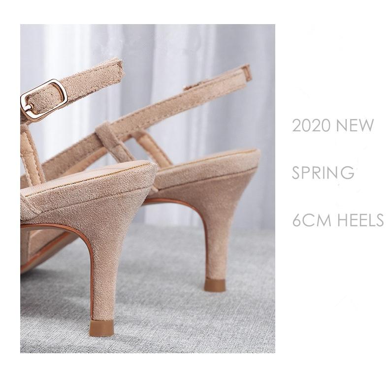Woman's Spring 6cm Thin High Heels Slingbacks 14
