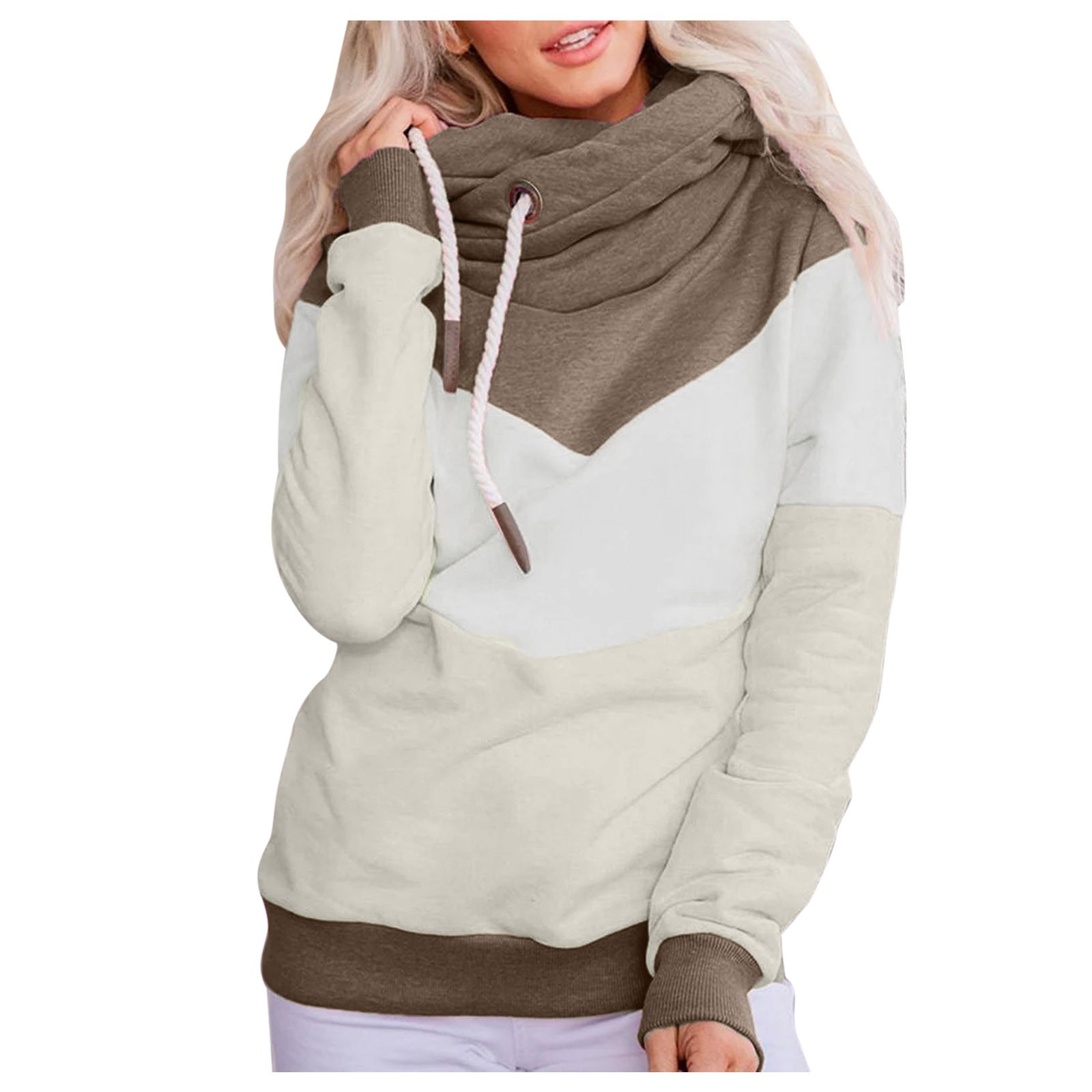 Hot Sale Women Casual Solid Contrast Long Sleeve Hoodie Sweatshirt Patchwork Printed Tops Sudaderas Mujer 2020 F Fast Ship 15