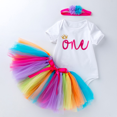 Baby Rompers Infant Clothing Glitter One 1st Birthday Baby Girls Love Heart Beauty Rabit Tutu Dress Jumpersuit Headband Shoes