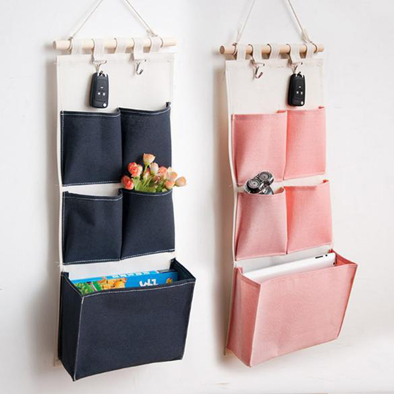 Canvas Printing Hanging Storage Bag 4/5 Pockets Wall Mounted Wardrobe Hang Bag Wall Pouch Cosmetic Toys Organizer