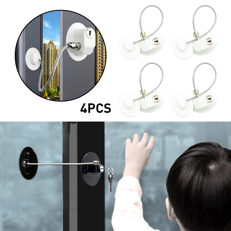 4pcs Child Protection Refrigerator Lock Baby Safety Child Lock Window Stop Infant Security Window Stopper Without Punching