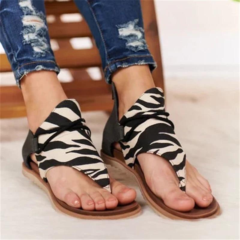 2020 New Women Sandals Leopard Print Summer Shoes Women Plus Size Shoes Flat Women Sandals Summer Shoes Sandals
