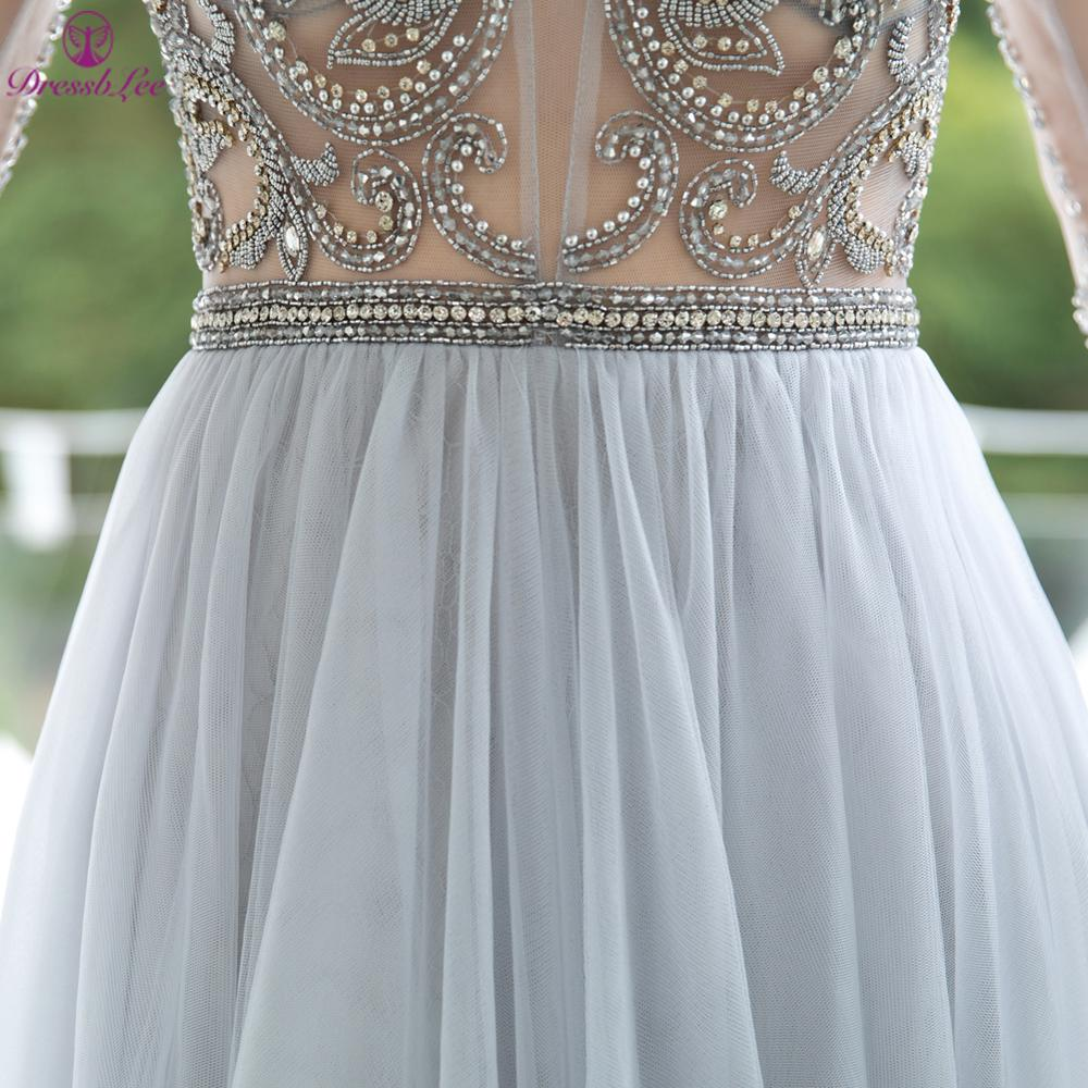 2020 New Listing Elegant A-Line Evening Dresses With Hand-Beading Backless Long Sleeve Evening Dress Sexy Transparent Party Gown