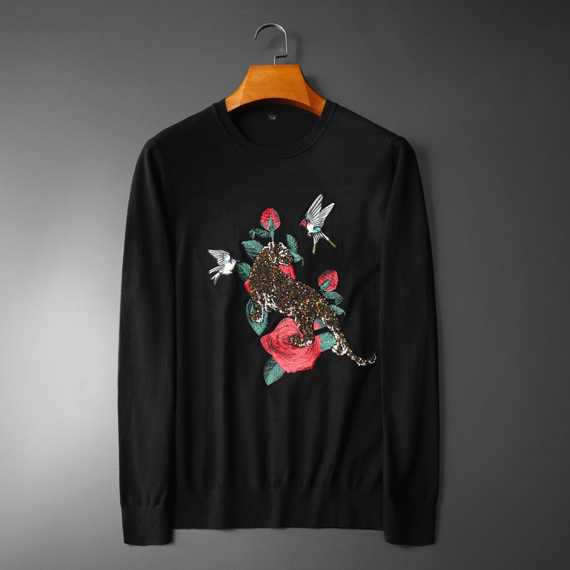 New 2019 Men Luxury Winter Sequin Tiger Kingfisher Embroidered Casual Sweaters Pullover Asian Plug Size High Quality Drake #N45