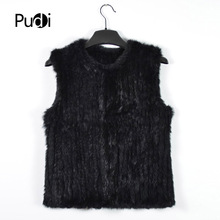 VR030 New knitted Rabbit fur  vest gilet sleeveless garment waistcoat natural brown /grey/black