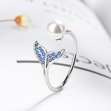 925 Sterling Silver Simple Trendy Fishtail Dolphin Personality Opening Adjustable Giving Mermaid Pearl Ring Lady Accessories