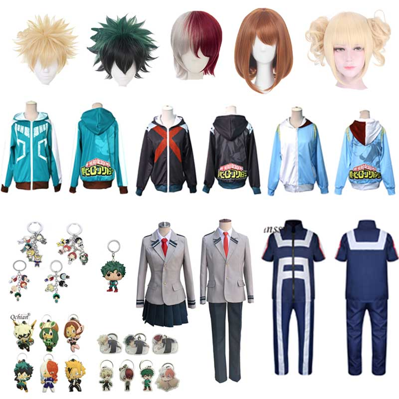 My Hero Academia Cosplay Dress Suit Short Sleeve Summer Dress Cosplay Wig Cute Decorative Keychain Jewelry Adult Costume