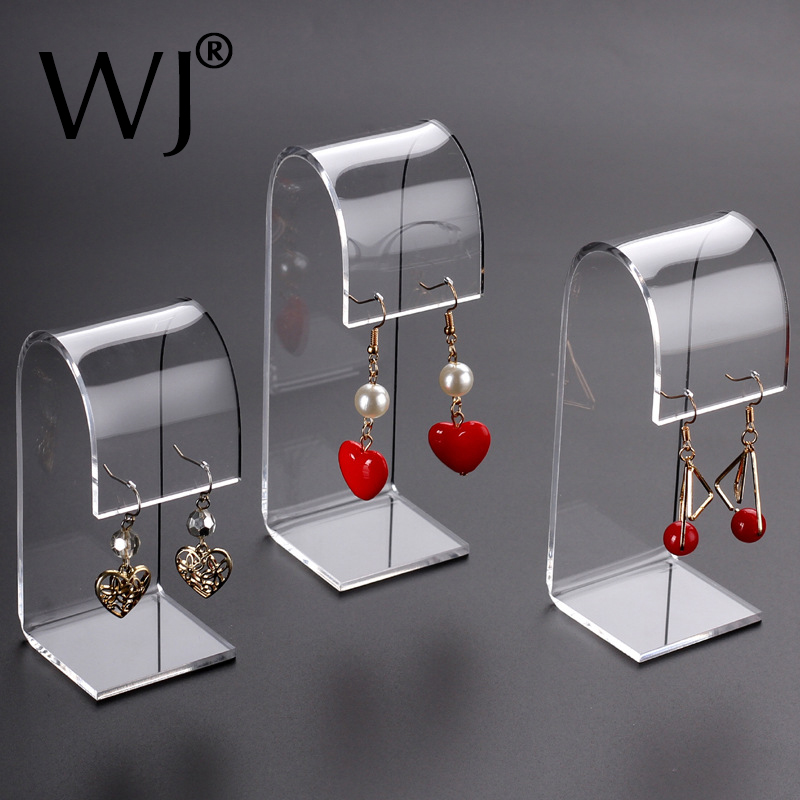 Set Of 3pcs Acrylic Jewelry Earrings Holder Stand Display Organizer Shelf Shop Countertop Showcase Jewellery Ear Studs Show Rack