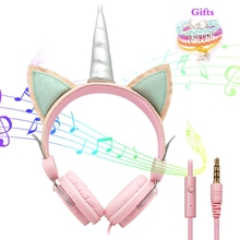 Cute Kids Headphones With Microphone Unicorn Wired Cascos Mobile Phone Gamer Headset Girl Music Helmet with Bracelet Gifts