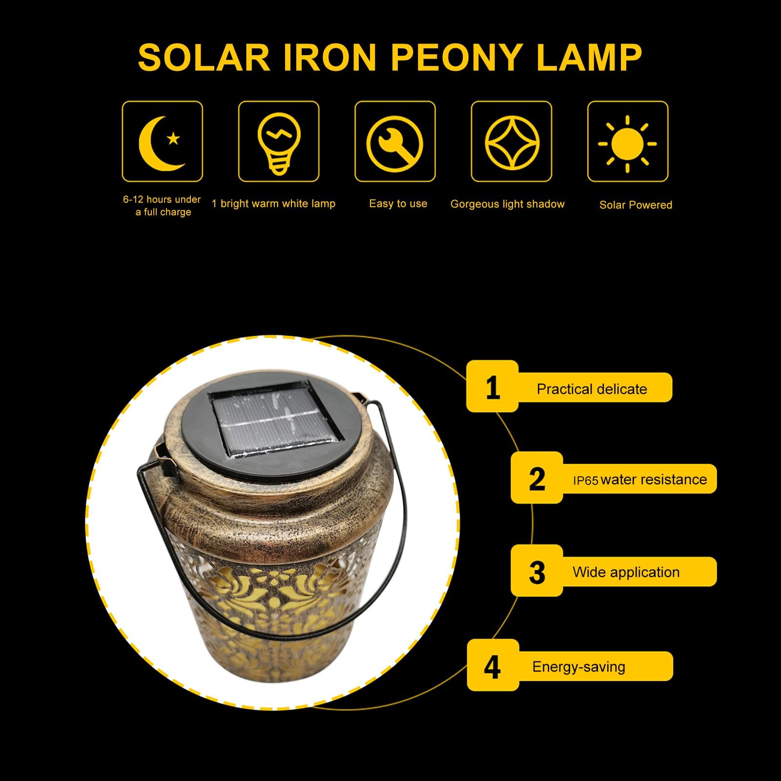 Retro ferro solar led lanterna à prova