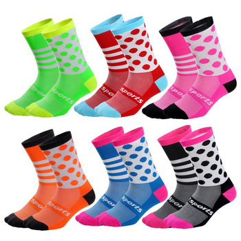 3 pairs Kids Asymmetry Wave point Sports Socks Wearable Sweat Cycling Socks for Girls Boys Cycling