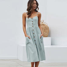 2021 Fashion summer dresses women v-neck sleeveless casual sexy dress femme elegant ankle-length sundress vestido