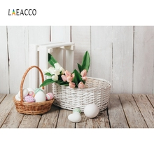 Laeacco ฤดูใบไม้ผลิการถ่ายภาพพื้นหลังอีสเตอร์ Photo ฉากหลังไข่ตะกร้าดอกไม้ Photophone สำหรับทารกเด็ก PARTY Decor Photozone
