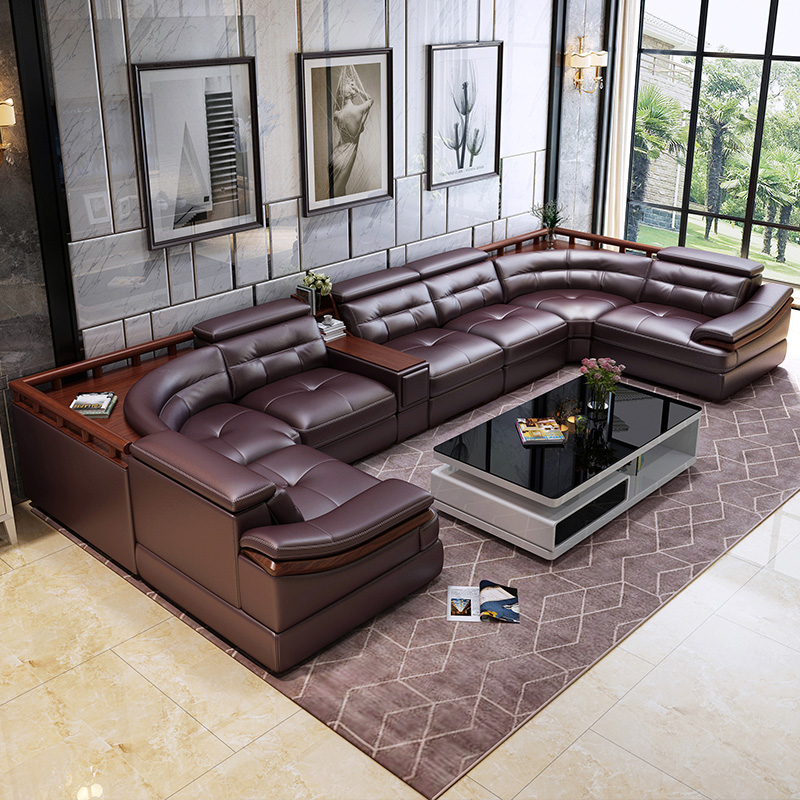 leather sofa u shaped head shaped leather simple modern living room leather sofa corner large family sofa combination