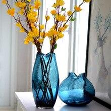 Синие креативные витражные изделия американские деревенские витражные украшения геометрические витражи ваза для украшения интерьера