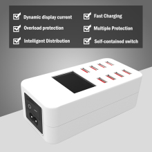8 Ports USB Charger Smart desktop rohs Charging Multi-Port Travel LCD Digital Display Station