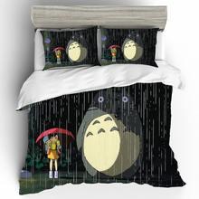 Kreskówka Totoro pościel duży rozmiar Parure De Lit Enfant komplet pościeli Parure De Lit 2 osobisty zestaw pościeli luksusowy zestaw Conforter