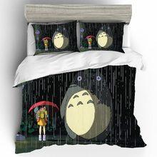 Totoro Bedding Parure-De-Lit Sheet Linen-Set King-Size Cartoon Luxury Enfant 2-Personnes
