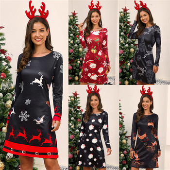 Sweet Cute Cartoon Deer Print Women Dress 2020 New Christmas Party Dress Casual Long Sleeve Loose A-Line Dresses Female Vestidos