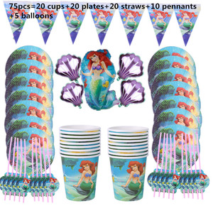 Image 2 - 110Pcs 20 คนHappyวันเกิดMermaid Ariel Girls Baby Shower Partyตกแต่งแบนเนอร์ตารางผ้าหลอดถ้วยแผ่นผู้ผลิต