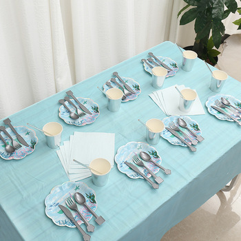 Ocean-themed shell birthday party dinner plate supplies props tableware set image