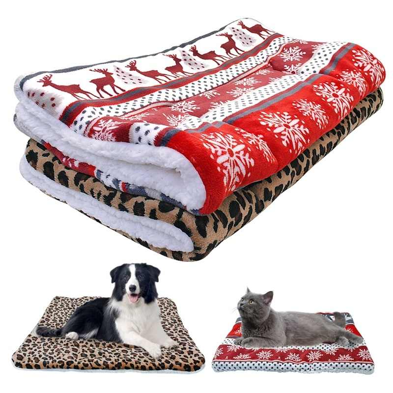 Ultra Fleece Dog Bed Mat Warm Winter Puppy Cat House Kennel Small Medium Large Dogs Beds Christmas Sleeping Blanket Chihuahua