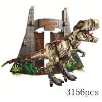 2019 Jurassic World T.REX RAMPAGE Building Blocks 2 Dinosaur Figures Bricks Compatible legoinglys 75936 Toys For Children dino