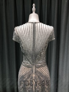 Image 4 - Lüks Mermaid akşam elbise uzun Cap kollu el yapımı boncuklu balo elbise 2020 Vestidos de Fiesta de Noche OEV L4208