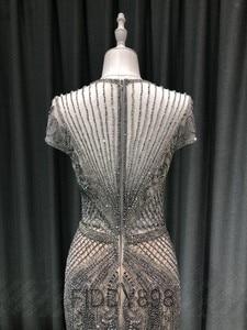 Image 4 - Luxo sereia vestido de noite longo boné manga artesanal frisado baile de formatura vestido 2020 vestidos de noche OEV L4208