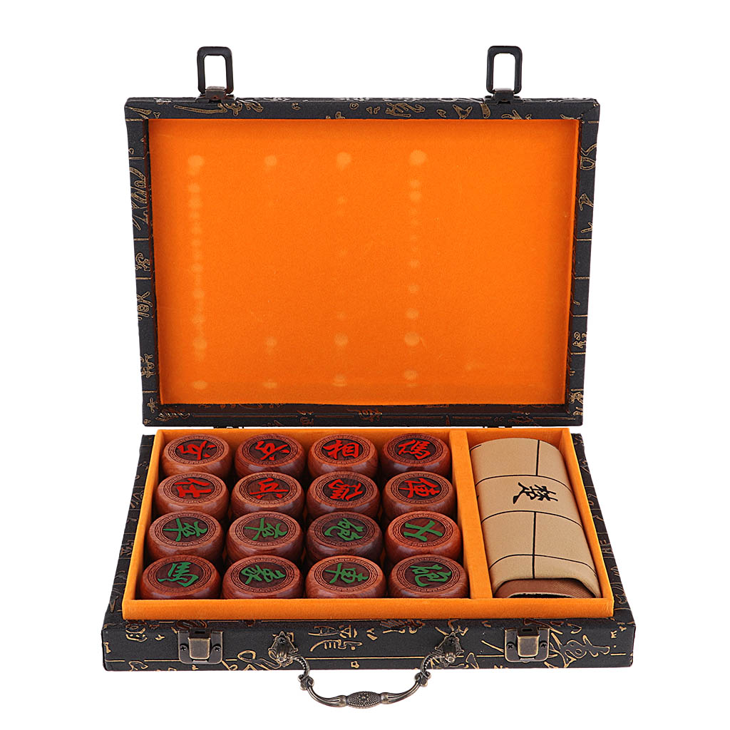 Deluxe Traditional Chinese Chess Set Board Game Xiangqi With PU Checkerboard And Rosewood Pieces