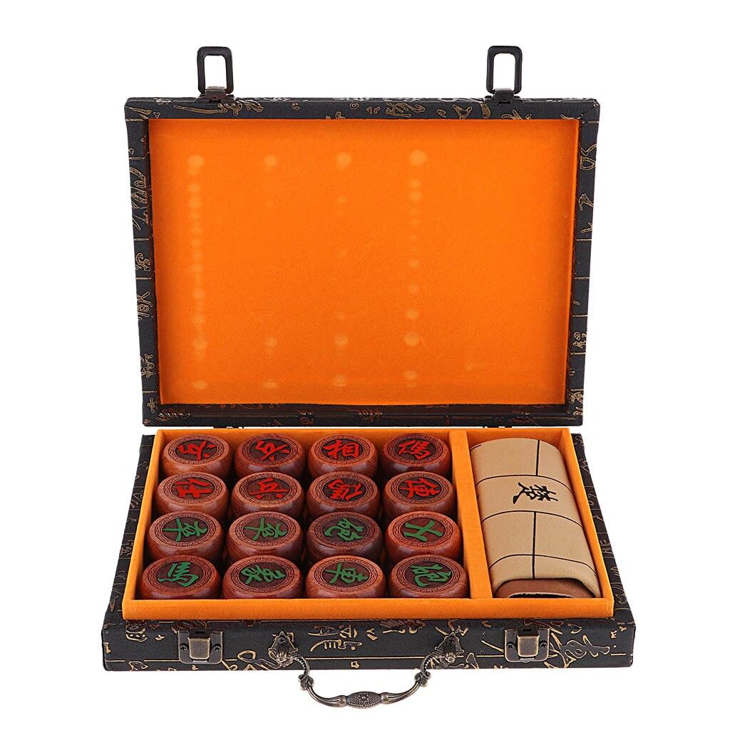 Jeu d'échecs chinois traditionnel de luxe Xiangqi avec pièces en damier PU et palissandre