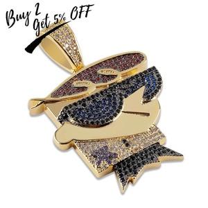 Image 2 - TOPGRILLZ collar con colgante de circonia cúbica para hombre, cadena de zirconia cúbica, abalorios de Color plateado dorado estilo Hip Hop Punk, para fiesta