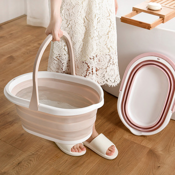 Bucket Home Multi-Purpose Folding Bucket Silicone Household Cleaning Mop Bucket Kitchen Tools Portable Bucket Fishing Bucket фото