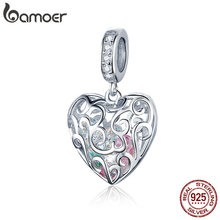 Openwork Heart Shape Pendant Romance 925 Sterling Silver Charms Fit  Bracelets & Bangles Wedding Gift Jewelry SCC1126