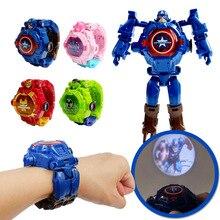 Часы Детские с 3d-проекцией, Мультяшные персонажи Диснея, супергерои, Человек-паук, Железный человек, цифровые часы, игрушка, 5 моделей