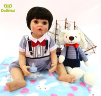 Boutique baby doll toys 23 56cm full vinyl silicone reborn babies girl doll bebe rebirth toddler doll with puppy