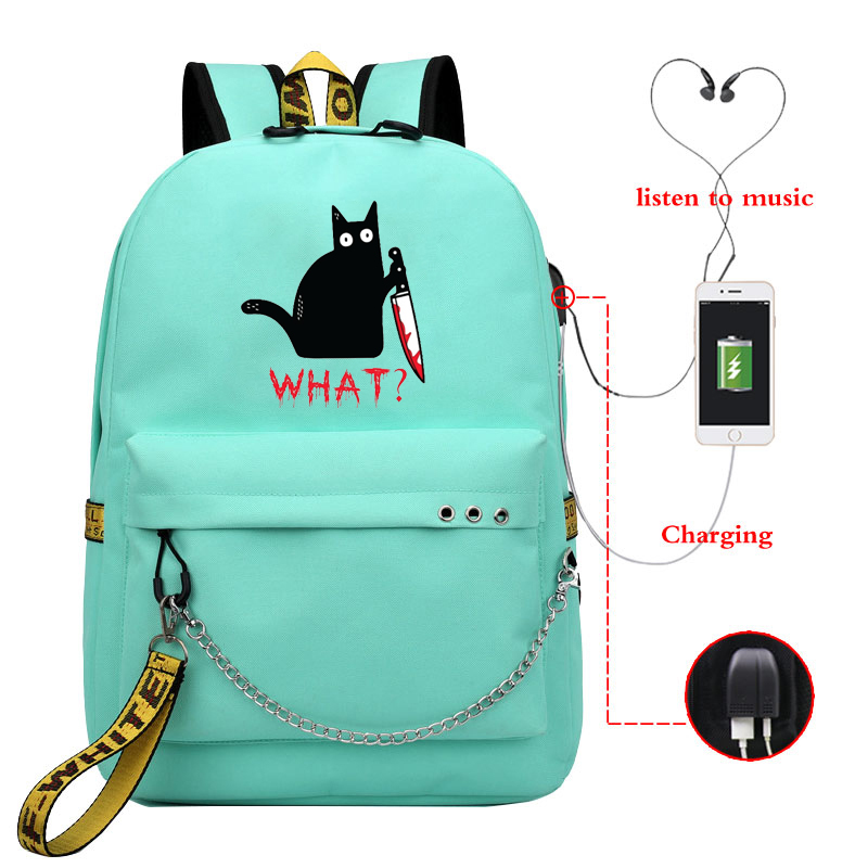 Cat What Women USB Charge Backpack Canvas Rucksack Girl Mochila Escolar Girls Laptop Shoulder School Bags Backpack for Teens image